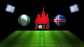 世界足球杯比赛2018年在俄罗斯:尼日利亚对 冰岛,  免版税库存照片