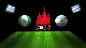 世界足球杯比赛2018年在俄罗斯:尼日利亚对 阿根廷, i 免版税库存照片