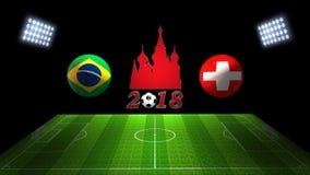 世界足球杯比赛2018年在俄罗斯:巴西对 瑞士, 库存照片