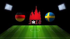世界足球杯比赛2018年在俄罗斯:德国对 瑞典, 3的 图库摄影