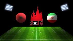 世界足球杯比赛2018年在俄罗斯:摩洛哥对 伊朗, 3D的 免版税库存图片