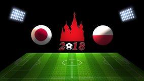 世界足球杯比赛2018年在俄罗斯:日本对 波兰, 3D的 免版税库存图片