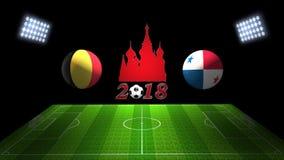 世界足球杯比赛2018年在俄罗斯:比利时对 巴拿马;   免版税库存图片