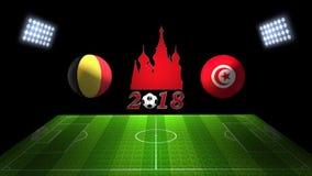 世界足球杯比赛2018年在俄罗斯:比利时对 突尼斯,  免版税库存图片
