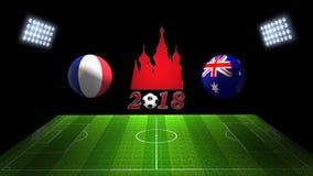 世界足球杯比赛2018年在俄罗斯:法国对 澳大利亚,  库存照片