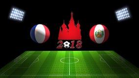 世界足球杯比赛2018年在俄罗斯:法国对 秘鲁, 3D的 库存图片