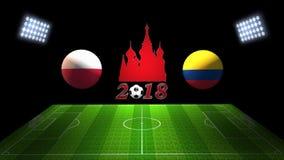 世界足球杯比赛2018年在俄罗斯:波兰;哥伦比亚, 3D的 库存图片