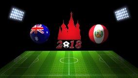 世界足球杯比赛2018年在俄罗斯:澳大利亚对 秘鲁, 3的 库存图片