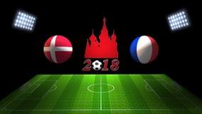 世界足球杯比赛2018年在俄罗斯:瑞典对 法国, 3D的 库存照片