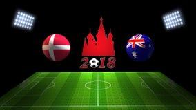 世界足球杯比赛2018年在俄罗斯:瑞典对 澳大利亚,  免版税库存照片