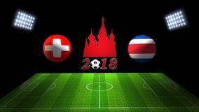 世界足球杯比赛2018年在俄罗斯:瑞士对 肋前缘Ri 库存照片