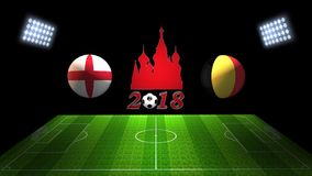 世界足球杯比赛2018年在俄罗斯:英国对 比利时,  库存照片