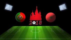 世界足球杯比赛2018年在俄罗斯:葡萄牙对 摩洛哥,  免版税库存图片