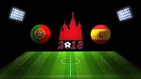 世界足球杯比赛2018年在俄罗斯:葡萄牙对 西班牙, 3的 免版税库存照片
