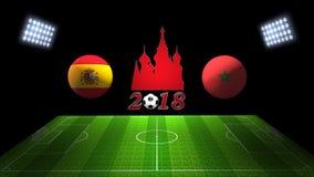 世界足球杯比赛2018年在俄罗斯:西班牙对 摩洛哥, 3D的 库存图片