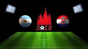 世界足球杯比赛2018年在俄罗斯:阿根廷对 克罗地亚, i 免版税库存图片