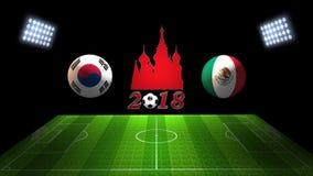 世界足球杯比赛2018年在俄罗斯:韩国对 墨西哥, 免版税库存照片