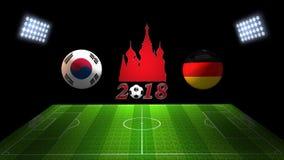 世界足球杯比赛2018年在俄罗斯:韩国对 德国, 库存图片