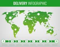 世界运输和后勤学 交付和运输的infographic元素 向量 皇族释放例证