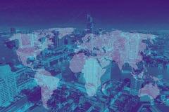 世界连接和城市地铁发展概念 免版税库存照片