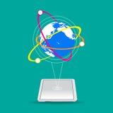 世界连接在绿色背景的传染媒介 库存照片