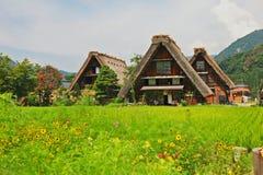 世界遗产shirakawago gasshozukuri房子 免版税库存照片