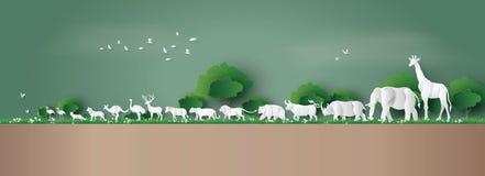 世界野生生物天 向量例证