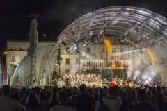 世界青年日,在集市广场的音乐会 免版税库存照片
