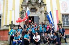 世界青年日2016年在切布尼察 库存照片