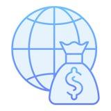 世界预算平的象 全球性在时髦平的样式的付款蓝色象 地球和金钱袋子梯度样式设计 库存例证