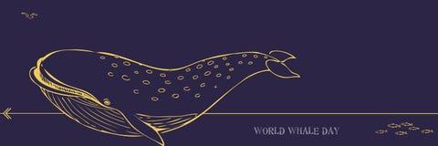 世界鲸鱼天 免版税库存图片
