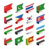 世界,亚洲的旗子 库存图片
