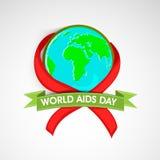 世界援助与了悟丝带的天概念 免版税库存图片