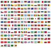 世界-在白色背景隔绝的优质传染媒介旗子的所有国旗与名字的 库存例证