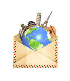 世界围拢的著名纪念碑在老行星地球 免版税图库摄影