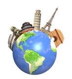世界围拢的著名纪念碑行星地球 免版税库存图片