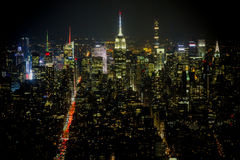 从世界贸易中心一号大楼的全景在晚上 免版税库存图片
