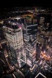 从世界贸易中心一号大楼的地区看法在晚上 免版税图库摄影