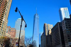 世界贸易中心一号大楼看法在纽约 库存图片