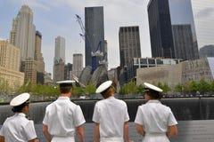 世界贸易中心9-11纪念品的美国海军陆战队员 库存图片