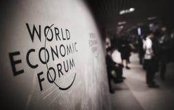世界经济论坛的象征在达沃斯 免版税库存照片