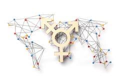 世界LGBT LGBTI连接概念 在世界地图的变性标志 库存图片