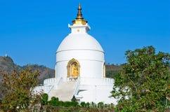 世界Pokhara的和平塔,尼泊尔 免版税库存图片