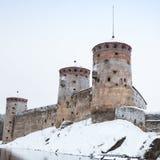 15世纪三塔城堡,萨翁林纳 免版税库存图片