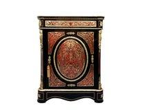 19世纪与红色龟甲和黄铜的镶金银的细工法国餐具柜镶嵌 库存照片