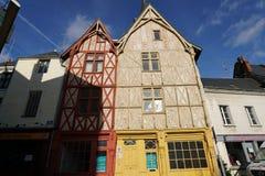 15世纪两个木房子在Montrichard,法国 库存图片