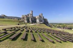 14世纪中世纪城堡, Ogrodzieniec城堡,老鹰乐队的足迹废墟筑巢, Podzamcze,波兰 免版税库存图片