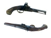 18世纪古色古香的燧发枪手枪被隔绝在白色 库存照片