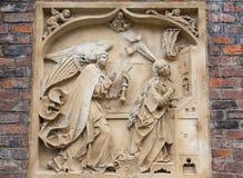 14世纪哥特式圣Elisabeth教会,在门面,集市广场,弗罗茨瓦夫,波兰的安心 免版税库存图片