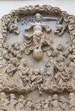 14世纪哥特式圣Elisabeth教会,在门面,集市广场,弗罗茨瓦夫,波兰的安心 免版税库存照片